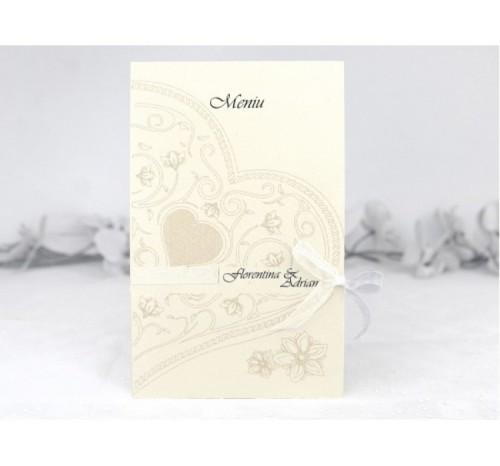 Meniu Elegant Inima si Flori - Victoire