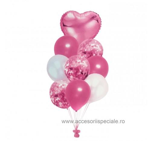 Buchet Baloane Confetti Inima Pink - Set 9 buc