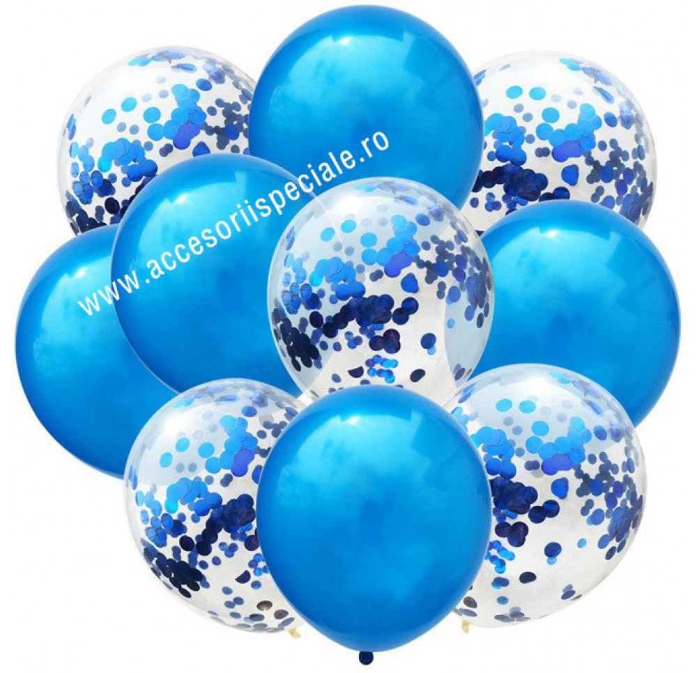 Buchet Baloane Confetti Blue - Set 10 Bucati