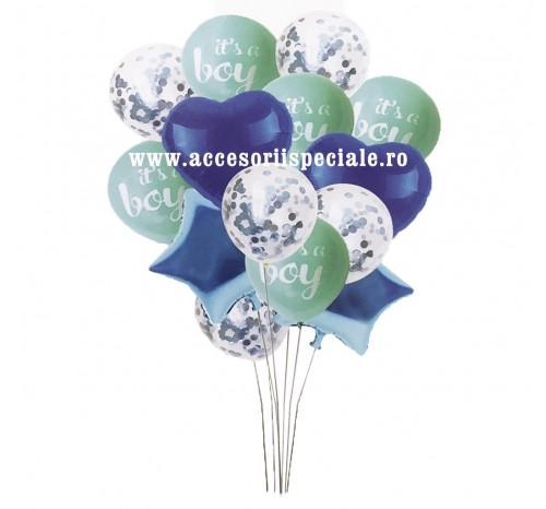 Buchet Baloane Confetti Blue - Set 14 Bucati