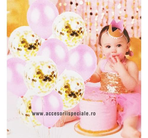 Buchet Baloane Roz cu Confetti Auriu - Set 10 buc