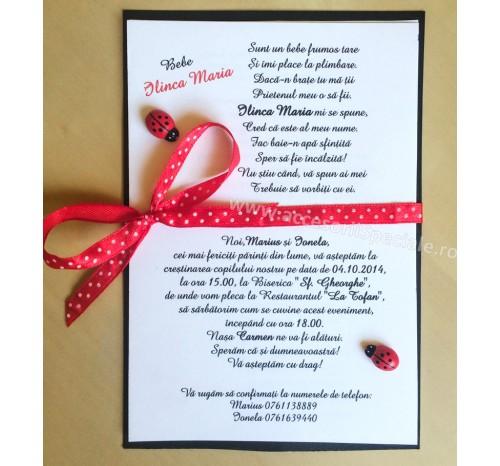 Invitatie Botez Buburuze Lemn